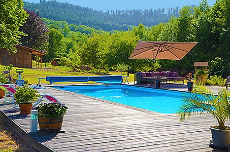 Le Clos des Aulnes Anould terrasse piscine journée